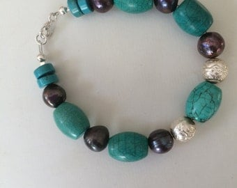 Turquoise, Sterling Silver and Freshwater Pearls Bracelet