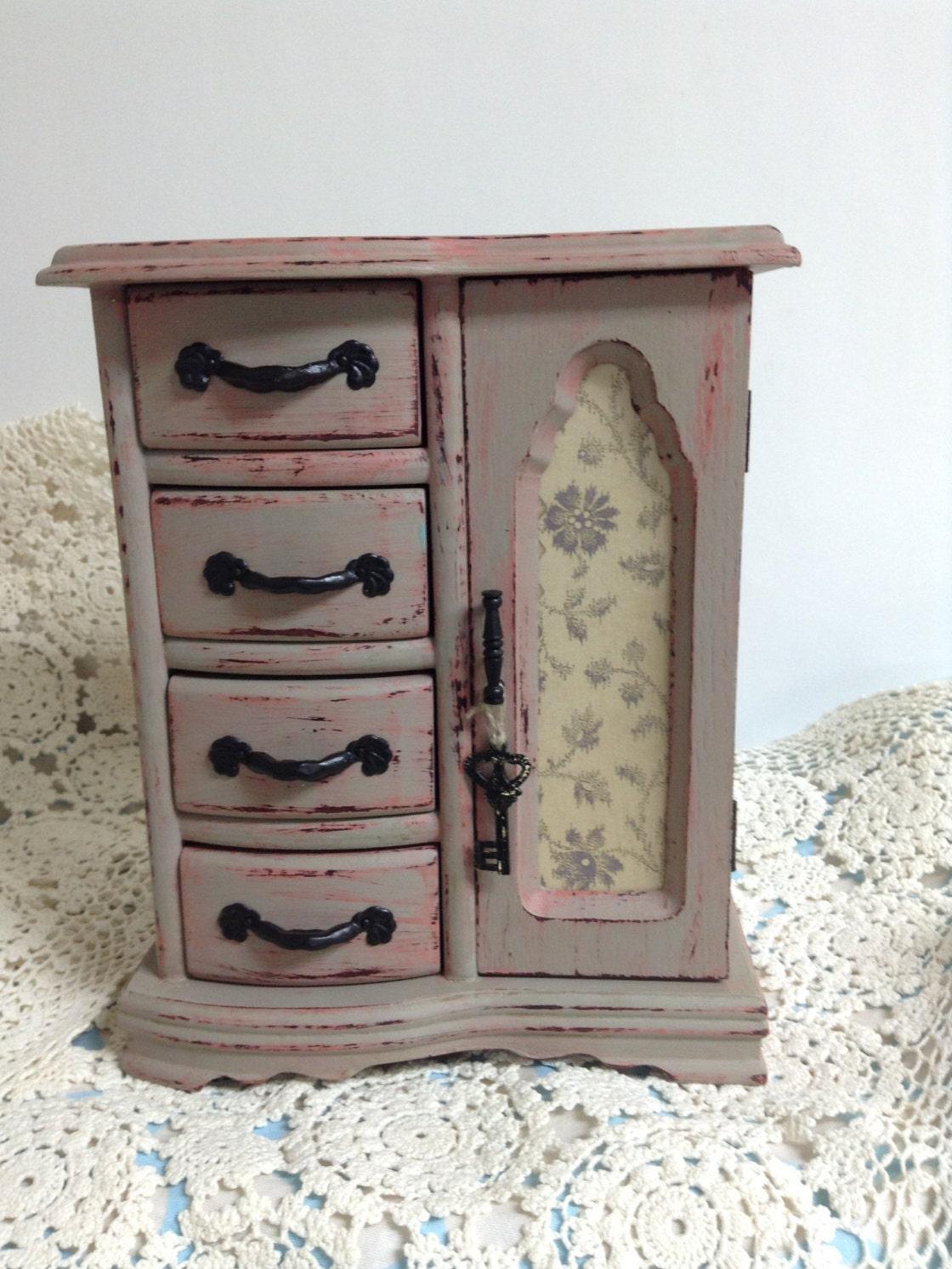 Vintage Wood Jewelry Box Chalk Paint Jewelry Box Upcycled