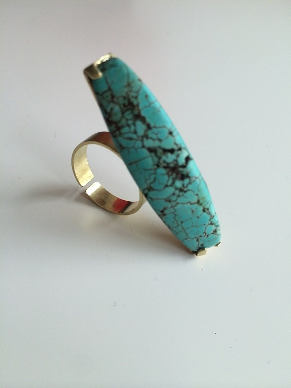Long turquoise ring. Sterling Silver. Gold plated. Big ring. Nice. Stylish. handmade