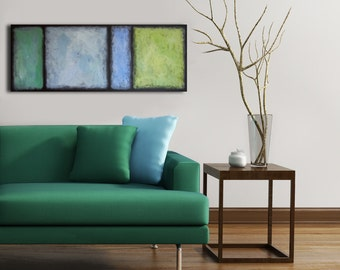 Original blue green abstract seascape acrylic on canvas, Abstract blue acrylic painting on canvas, Blue green ocean Abstract affordable art