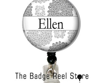 Retractable ID Badge Holder - Badge Reel - Name Badge - Personalized with Your Name Mums, Name Tag, identification, Holder