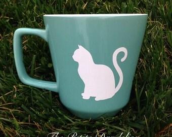 Turquoise Stoneware Cat Mug