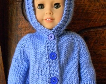 """Doll Knit  Hoodie Sweater-fits 18"""" dolls like American Girl & Bitty Baby"""