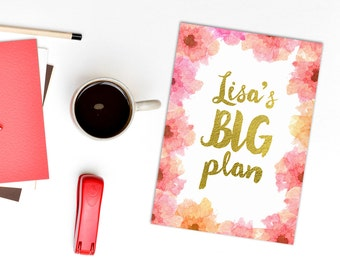 Personalized planner cover - big plans diary page - custom name planner - pink and peach watercolour florals - gold lettering planner - name