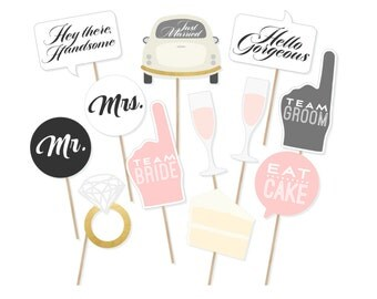 Printable Wedding Signs Photo Booth Props - Wedding Photobooth Props - Just Married Sign - Wedding Signs - Printable Wedding Decor - Mr Mrs