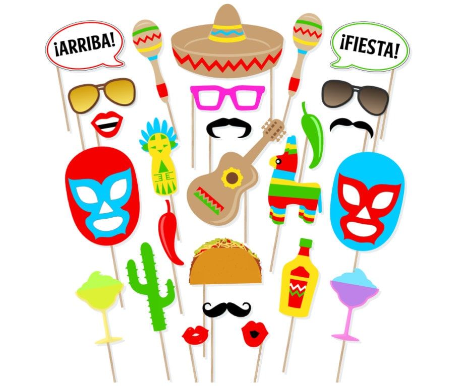 printable mexican fiesta photo booth props cinco de mayo photo booth props mexico photobooth - Mexican Fiesta Decorations