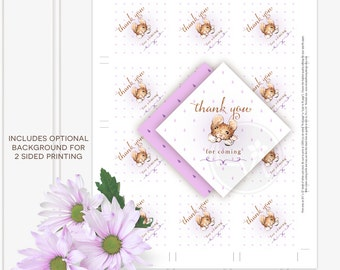 violet purple beatrix potter baby shower favor tags printable DIY thank you cards
