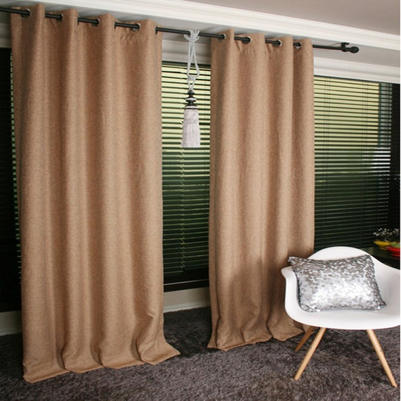 Orange Brown Linen Blended Blackout Curtain Drapery By Enapremium