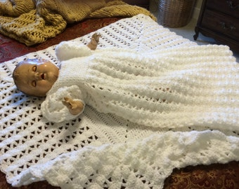 Baby girl's christening outfit including blanket