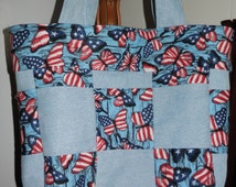 SALE! Patriotic Tote/Carry All- Denim and Cotton FREE SHIPPING
