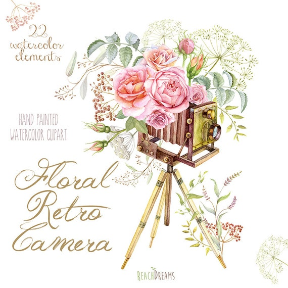 Watercolor Floral Retro Photo Camera Vintage Wedding Invite Greeting Card DIY Transparent Png Roses Fowers Invitations Leaves Herbs