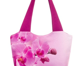 Orchid Print Bag  Pink Shoulder Bag  Floral Handbag  Fabric Bag  Print Tote (C0303)