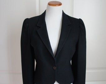 80s Black Cropped Blazer