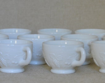 Milk Glass Punch Cup by Westmoreland in the Fruits Pattern (Cherries, Grapes, and Pineapples)