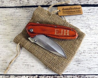 wood pocket knife personalized groomsman