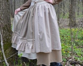 Long beige skirt - Boho skirt - Wraparound skirt - Autumn skirt - Wool skirt - MADE To ORDER