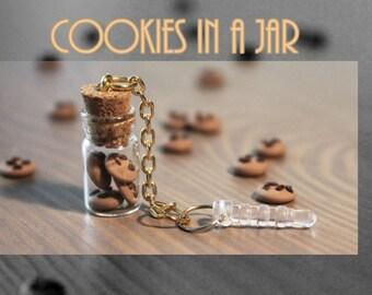 Cookies in a Jar - Glass bottle. glass vial. cookie, cookies, phone charm, dust plug. phone dust plug. phone glass bottle charm bottle charm