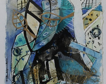 Bluebird, SALE PRICE, Original Art, Mixed Media on Khadi Paper