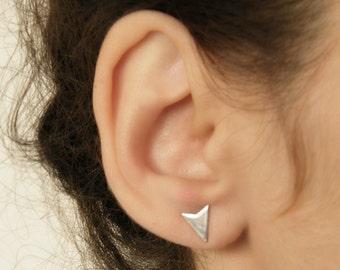Minimalist earrings, Arrow stud earrings, Chevron earrings, Arrow post earrings, Triangle stud earrings, Airplane earrings, Geometric studs.
