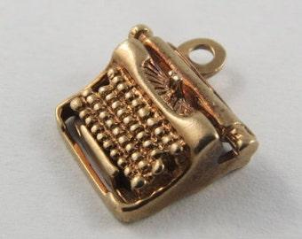 Typewriter 10K Gold Vintage Charm For Bracelet