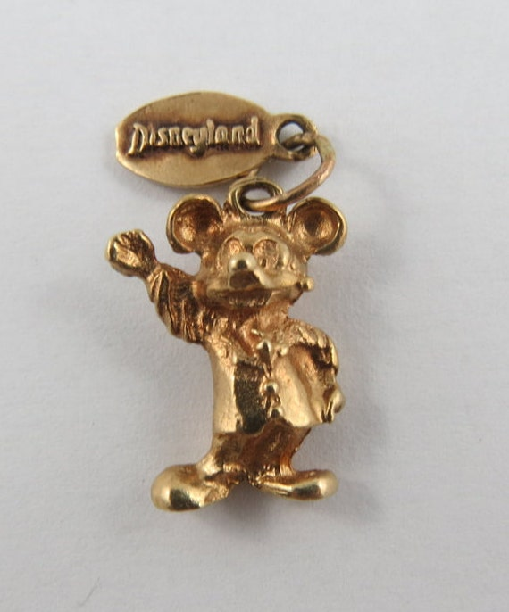 Mickey Mouse Charm Bracelet: Mickey Mouse With Disneyland Tag 14K Gold Vintage Charm For
