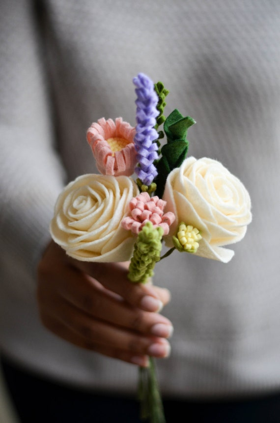 felt flower bouquet rose wildflower amp lavendar bouquet