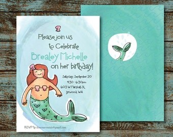 Mermaid - Birthday Party Invitation (front and back)
