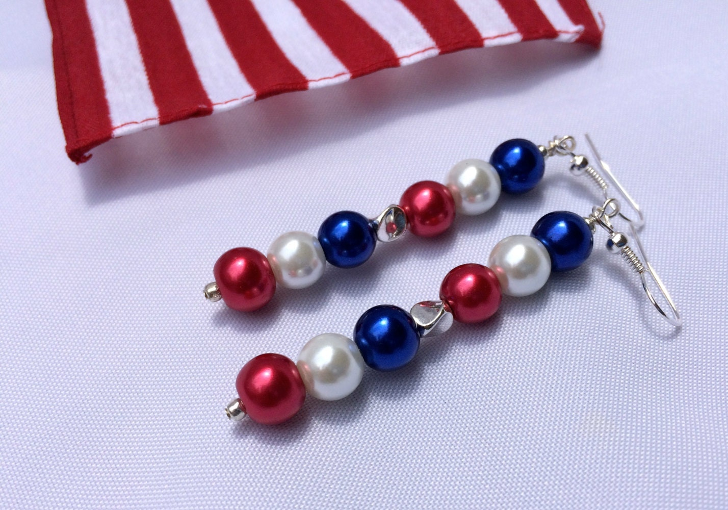 4th of july earrings 4th of july jewelry earrings white and blue by 3017