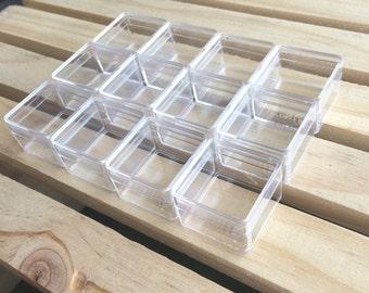 12 clear color plastic box, mini plastic box, beads box, small packaging, small square boxes
