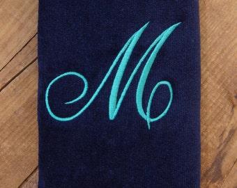 Fingertip Towel, Monogrammed Fingertip Towels, Personalized Towels, Single Initial - Script Font, Embroidered Towels, Stocking Stuffer
