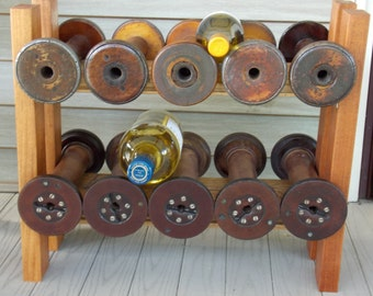 Handmade Wine Rack with vintage white oak, African mahogany and large textile spools. Price reduced from 275 USD