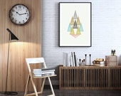 Abstract Triangles Watercolor Geometric Shapes Wall Art Printable - Texture Scandinavian Decor Pastel Wall Art - Modern Minimalist Poster