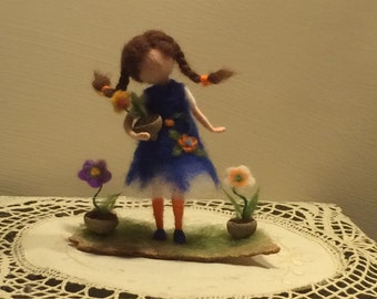 "Needle felted doll with flower Waldorf inspired Wool Fairy ""Small florist"" Soft sculpture Art doll Collectible doll Home decor Gift"