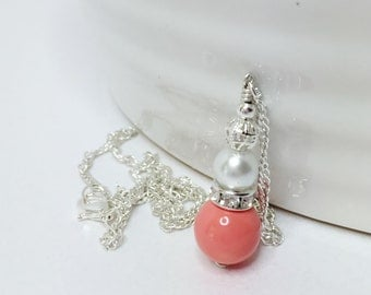 Coral Pearl Pendant Bridal Set of 5 Peach Wedding Set Apricot Bridesmaid Gift Coral Beaded Necklace Bridesmaid Jewelry Set Summer Wedding