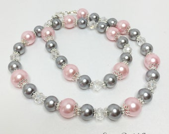 Pink and Silver Bridesmaid Necklace Crystal Necklace Bridesmaid Gift Wedding Jewelry Grey Pearl Necklace Pink Pearl Jewelry Wedding Set