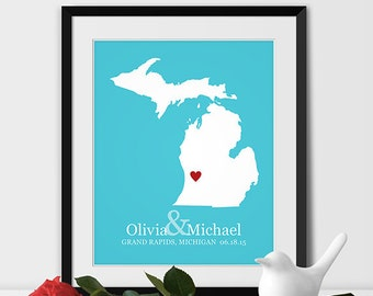 Michigan Art Print, Michigan Wedding Map of Grand Rapids Gift for Couples Wedding Gift 1st Anniversary Gift Bride & Groom Gift -Any STATE