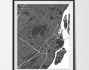 Montreal Map Art Print, Montreal City Map of Montreal Art Poster of Quebec Map University of Montreal Art Grad Gift Dorm Art