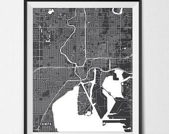 Tampa Florida State Map Art Print, University of Tampa Poster Gift Dorm Decor Graduation Gift Florida Art Gift