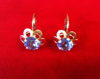 18 k Yellow Gold Earrings With Blue Zircon Lever Back. 4.4 Gm. Free Shipping.