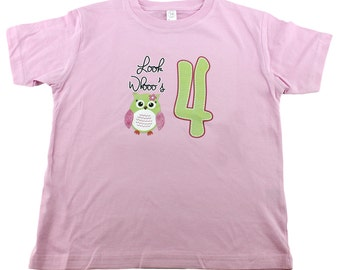 4th birthday Shirt. Girl's 4th birthday Owl Number Shirt. Girl's Owl Birthday t-shirt. size 4