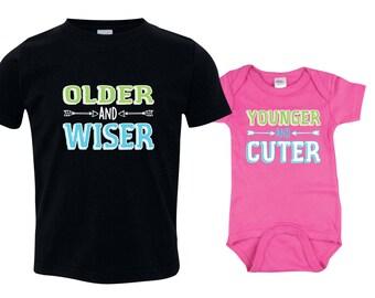 Big Brother Little Sister Set, Big Brother Shirt, Little Sister Bodysuit, Lil Sis Bodysuit, Big Bro Shirt, Big Bro Lil Sis Set, OWYC