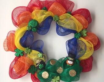 St. Patrick's Day Rainbow Deco Mesh Wreath