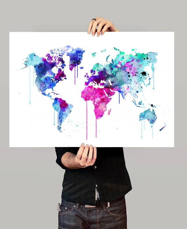 Colorful watercolour world map art print watercolor art for Weltkarte poster ikea