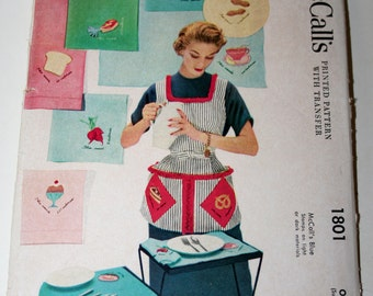Vintage Printed pattern with transfer, Apron and Pot holder- McCall's 1801- One size, 1953