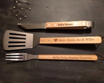Custom BBQ Set | Engraved Grill Set | Gift for Men | Grilling | Groom Gift | Unique Wedding Gift | Employee Gift | Husband Gift | Corporate