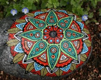 Hand Painted Stone Mandala Grinding Stone Garden Art for Meditation and Inspiration