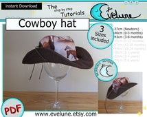 Cowboy hat PDF / English / 3 sizes included / Baby / Kids / Toddler / sewing / pattern / tutorial / DIY