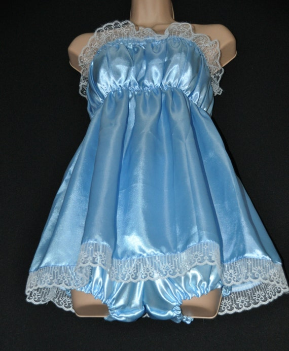 Baby blue pretty little sissy dress with matching satin bloomers / panties, Sissy Lingerie