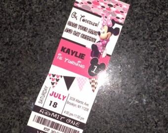 Minnie Mouse Ticket Invitations