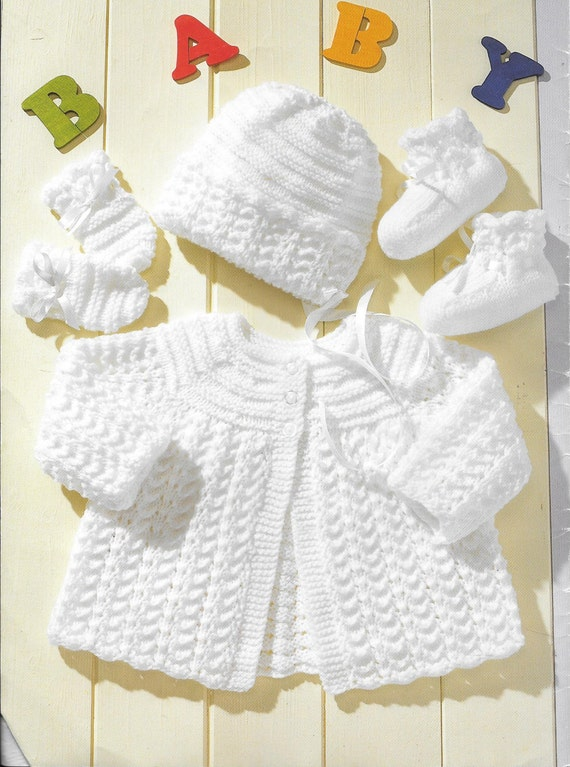 Baby Knitting Pattern Cardigan Hat Mittens Bootees